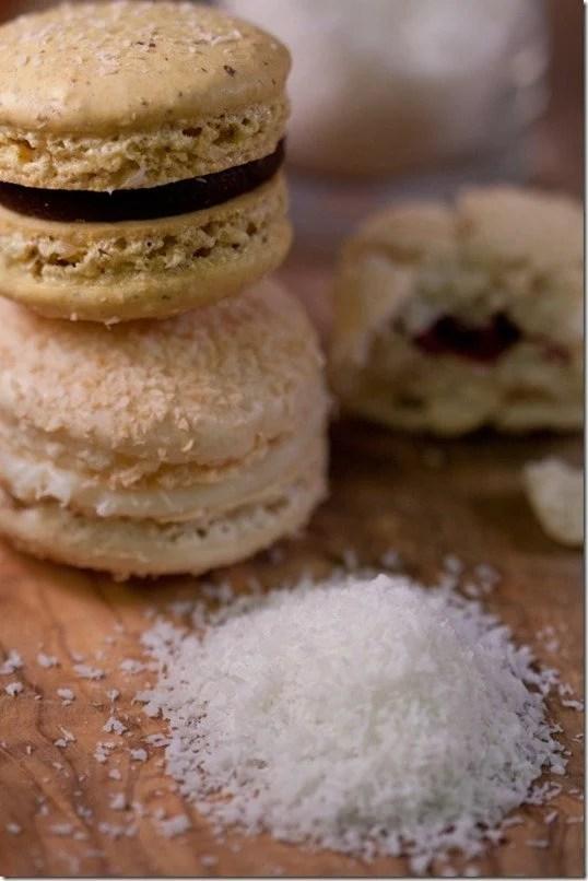 "Macaron ""Rafaello"" - Delicate Coconut Shell filled with White Chocolate Ganache, by LettheBakingBeginBlog.com"