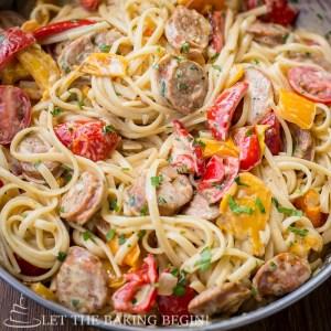 Sausage Pepper Fettuccini Skillet