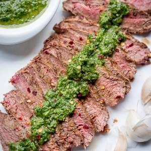 Grill Pan Flat Iron Steak with Chimichurri Sauce Recipe