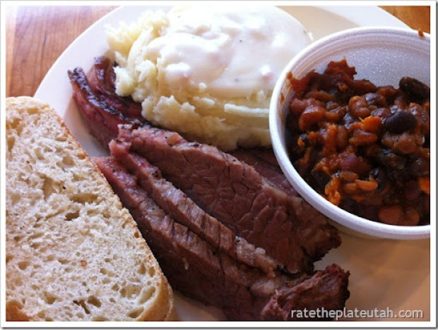 Molly's Beef Brisket, Mashed Potato, & Baked Beans White Artisan Bread