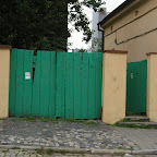 Green painted entrance.