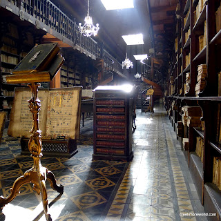 The stunning library at the Church of San Francisco in Lima