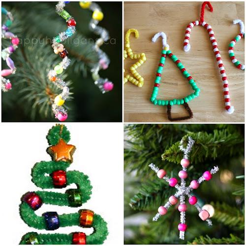 Vánoční ozdoby z žinylek a korálků