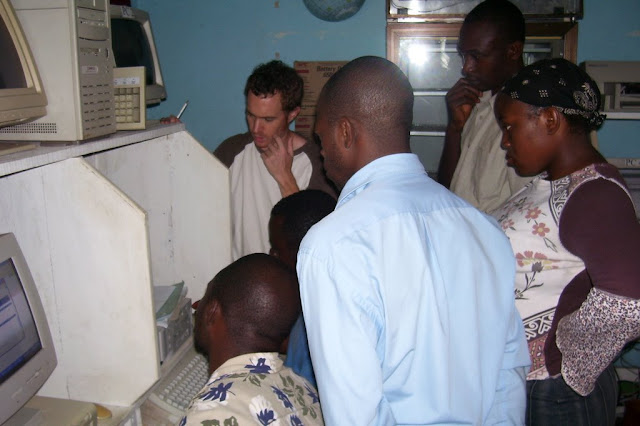Joe Teaches web design to his pioneer class of students at HINT, Buea