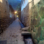The ancient streets of Ollantaytambo have the same layout and running water systems from hundreds of years ago.