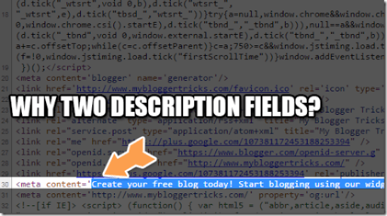 two description fields in blogspot blogs