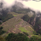 We finally get a clear shot of Machu Picchu viewed from Wayna Picchu as we descend.
