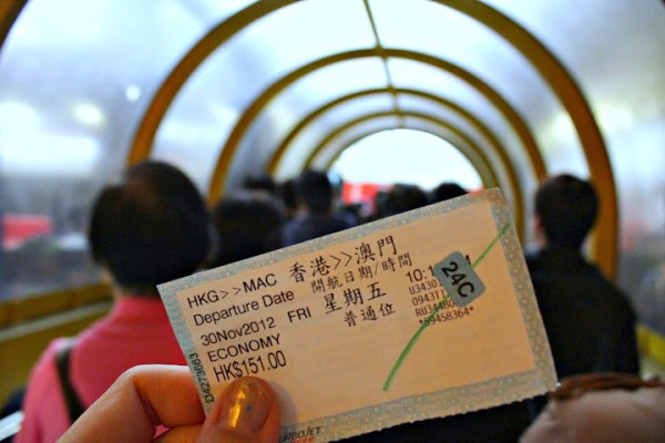 taking the macau ferry, turbojet ticket to macau