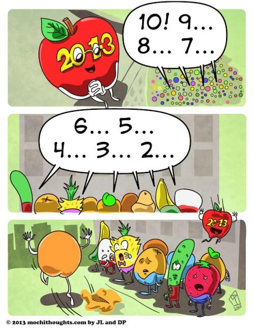 Cute Food Comic Happy Nude Year