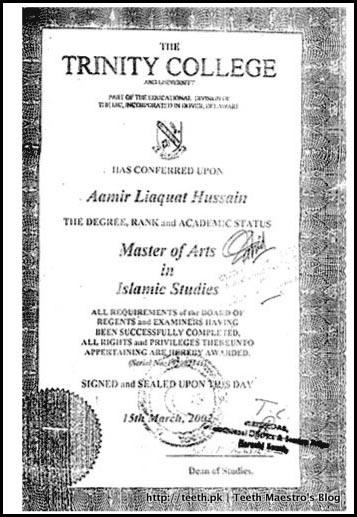 Copy of Masters of Arts in Islamic Studies of Amir Liaquat Hussain