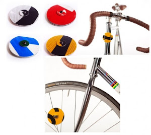 Cycle Signs  By Trent Jansen - Spoke ($25) and Strap ($15) Reflectors made from recycled road signs.