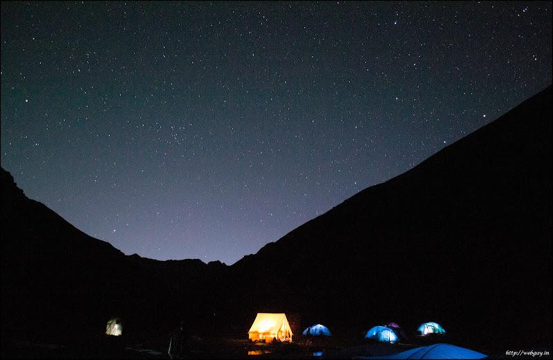 Tents at night, Chattru Hampta Pass Trekking