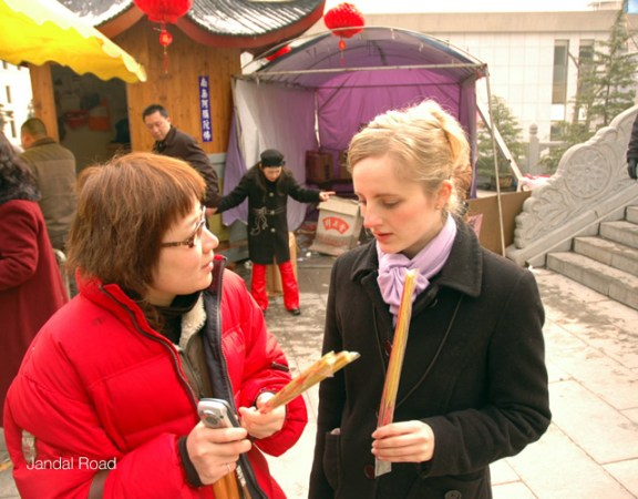 Nanjing, China - Friends at temple