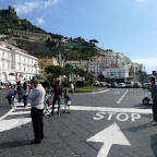 We price the taxis on the busy main square of Amalfi, just off the water.