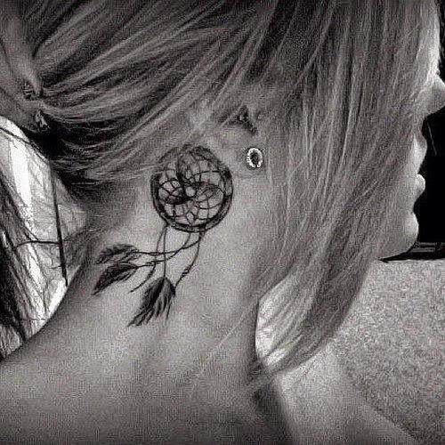 behing the ear Dreamcatcher Tattoos