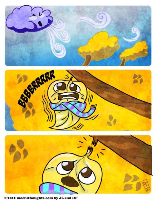 Cute Comic, Falling Leaves