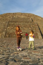 Nadia and Alex on the Pyramid of the Moon, Teotihuacan, Mexico.