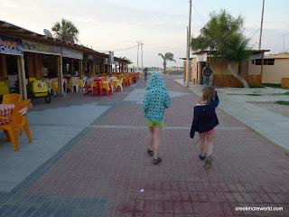 Strolling the beachside ceviche restaurants of Paracas.