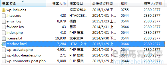 刪除WordPress ReadMe.html