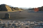 A view from the sacrificial platform in the center of the plaza towards the Pyramid of the Feathered Serpent. The Avenue of the Dead in front, the Pyramid of the Sun to the left. Teotihuacan, Mexico.