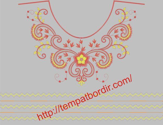 Contoh Motif Bordir Bunga Untuk Bagian Dada