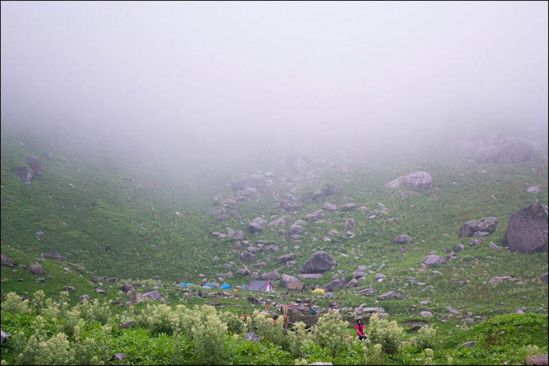 Camp-site from a distance, Balu ka Gera Hampta Pass Trekking