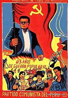 Shining Path poster celebrating 5 years of war.