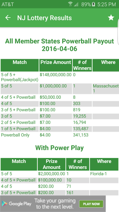 NJ Lottery Results - Android Apps on Google Play