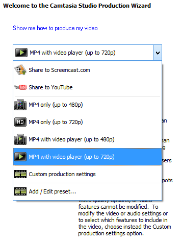 production settings in camtasia