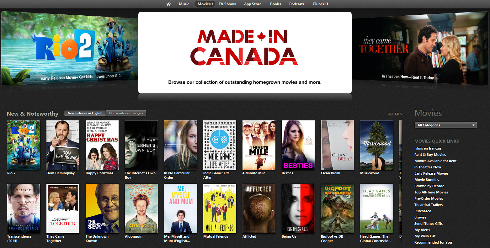 "The iTunes Store in Canada features over 1, films available for rent or purchase, with titles available for purchase on the same day as their DVD release, including recent blockbusters such as ""Juno,"" ""I Am Legend,"" ""National Treasure 2: Book of Secrets,"" ""The Bourne Ultimatum"" and ""Cloverfield."" iTunes Movie Rentals also features over titles available in stunning high definition, perfect for viewing on a ."
