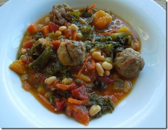 Kale, butternut squash and sausage soup