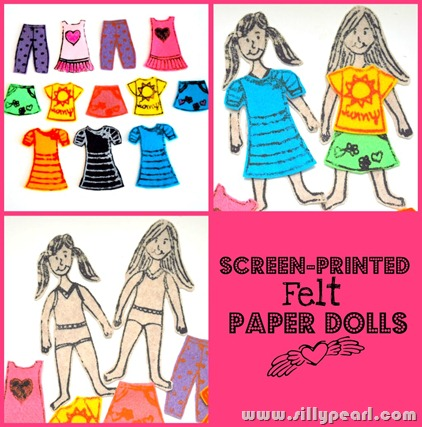 Screen Printed Felt Paper Dolls