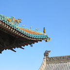 the roof of the ever-peaceful monastery; the fellow who keeps the place assures me that this is Yuan-dynasty although repainted; the lower roof on the right is recent.JPG