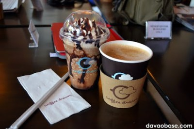 Frosticcino (ice-blended mocha) and Mochaccino (hot mocha) at Coffee Dream