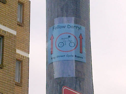 """Cool signs in the back lane, inspired by Run DMC? """"A girl named Carol follows Darryl every gig we play"""" - It's Tricky"""