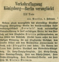 Wycinek z niemieckiej prasy z dn. 1.02.1935 r.