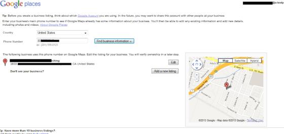 Confirm Correct Google Places Listing