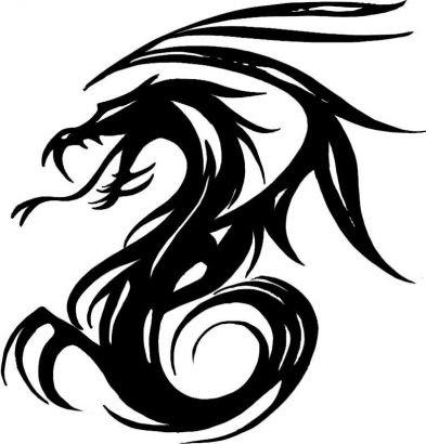black tribal dragon dark tattoo