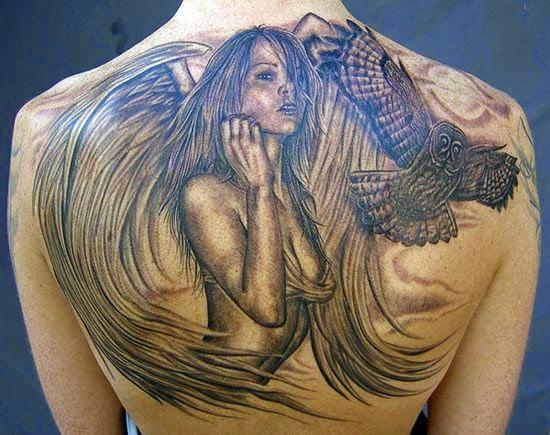 angel & owl tattoos designs on back