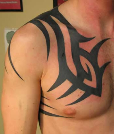 Tribal chest tattoo design
