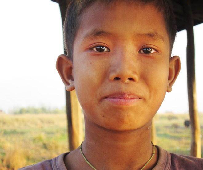 Kid near a monastery near Nyaung Shwe