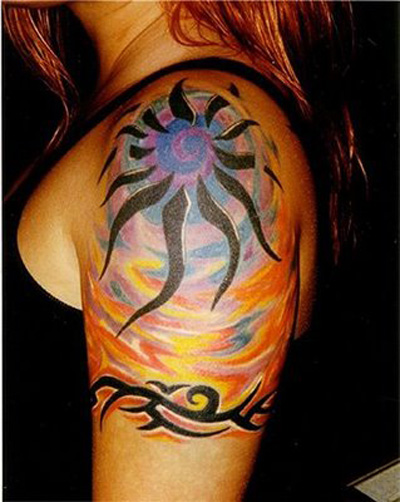 sun tribal tattoo desings