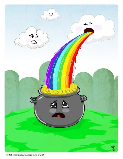 Cute Webcomic for St Patricks Day, Rainbow Vomit