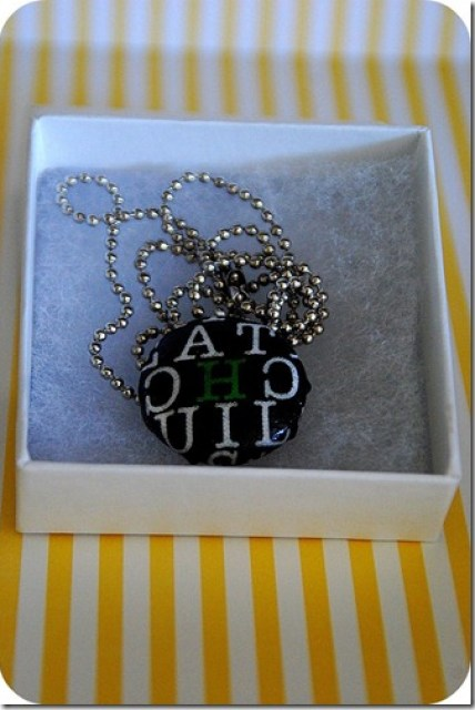 personalized covered button necklace in box