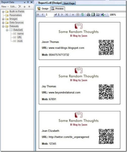 End Result - QR codes in SSRS
