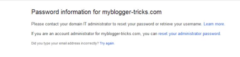 Google Apps Password Reset