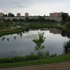 Pond on the East side with walk ways around it.