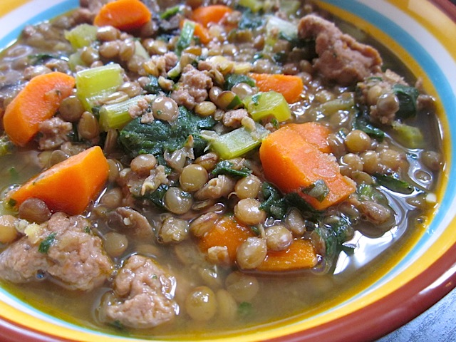 Lentil, sausage & vegetable Stew
