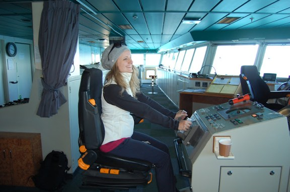 Steering the Interislander ferry across the Cook Strait...