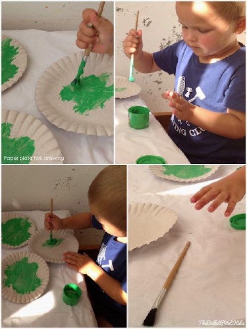 Paper plate fork drawing